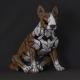 Bull Terrier EDGE SCULPTURE Rouge/blanc